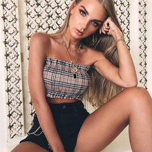OOTN Gingham Tube Top Women Sleeveless Summer Plaid Crop Tops Female Off Shoulder Strapless Elastic Cropped Sexy Streetwear