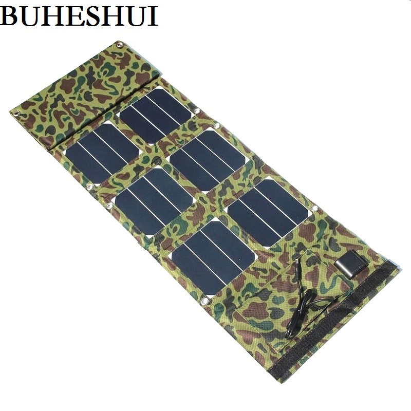 BUHESHUI 40W Sunpower Solar Panel Charger For Mobile Phones Dual USB 5V+DC18V Output For 12V Battery Charger NEW Free Shipping sunpower 21 watt portable folding solar panel charger for ipad tablets mobile phones smart phones iphone 2xusb out