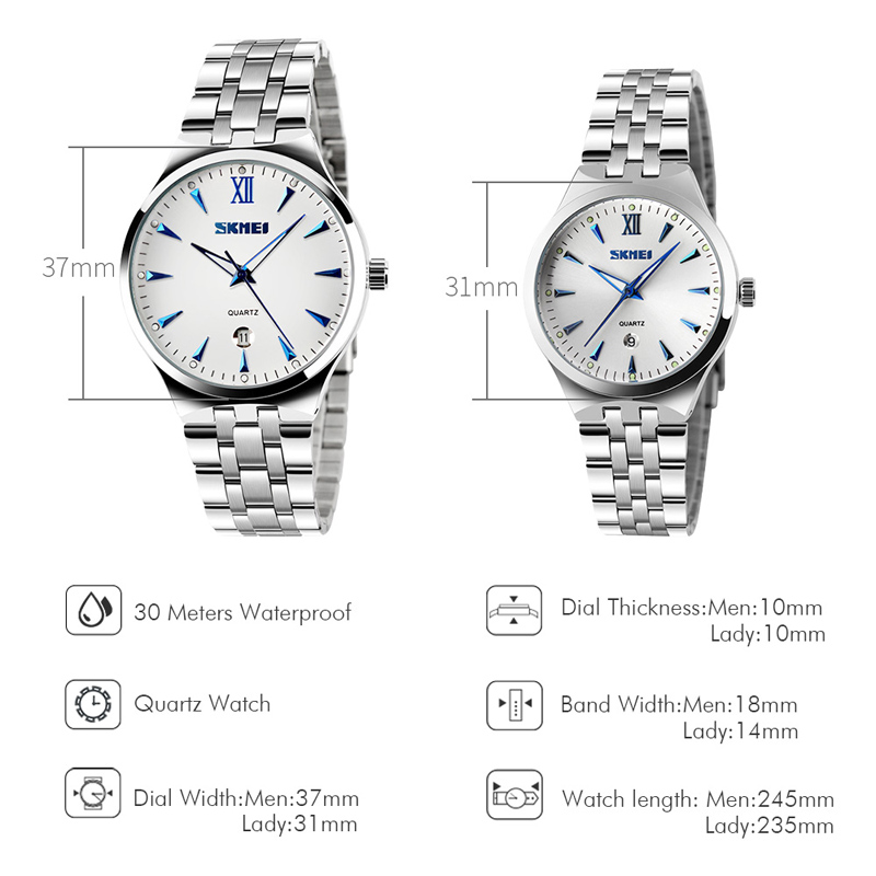 SKMEI Top Brand luxury lady Watch Women Quartz Watch Waterproof Wristwatches Full Steel girl Female Clock Relogio Feminino 9071