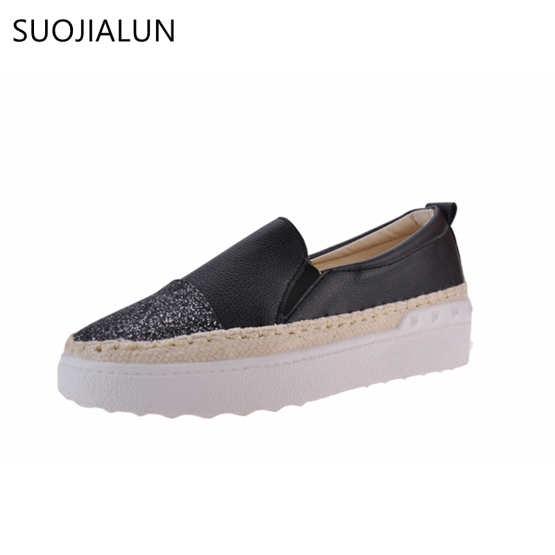 SUOJIALUN Bling F Loafers For Women Slip on Flat Platforms Round Toe Ladies Casual Shoes Gothic Woman Flats Shoes women round toe flower ladies beautiful flats shoes green fashion rubber sole applique loafers walking slip on embellished 2017