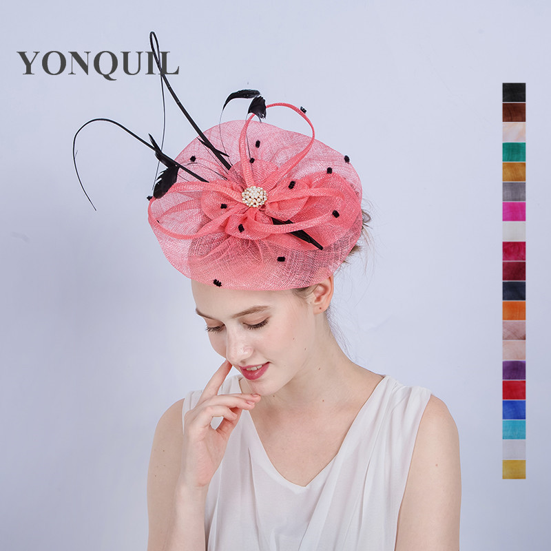 Top quality sinamay royal ascot derby big pink fascinator hat women party wedding hair accassories with ostrich quill hat SYF138 free shipping high quality 2015 mini disc flower sinamay fascinator with feather for race
