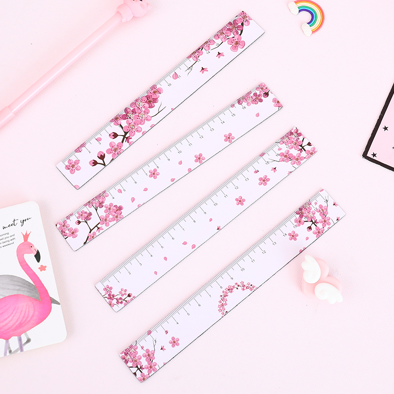 Kawaii 18cm Magnetic Pink Panther Straight Ruler Cute Plastic Flamingo Flower Animal Drawing Rulers For School Korean Stationery