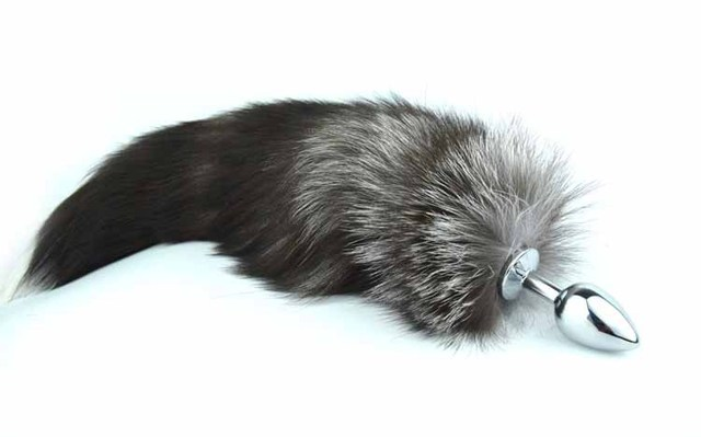 L size Metal Silver Anal Plug with Black Fox Tail Anal Douche Anal Jewelry Plug Tail