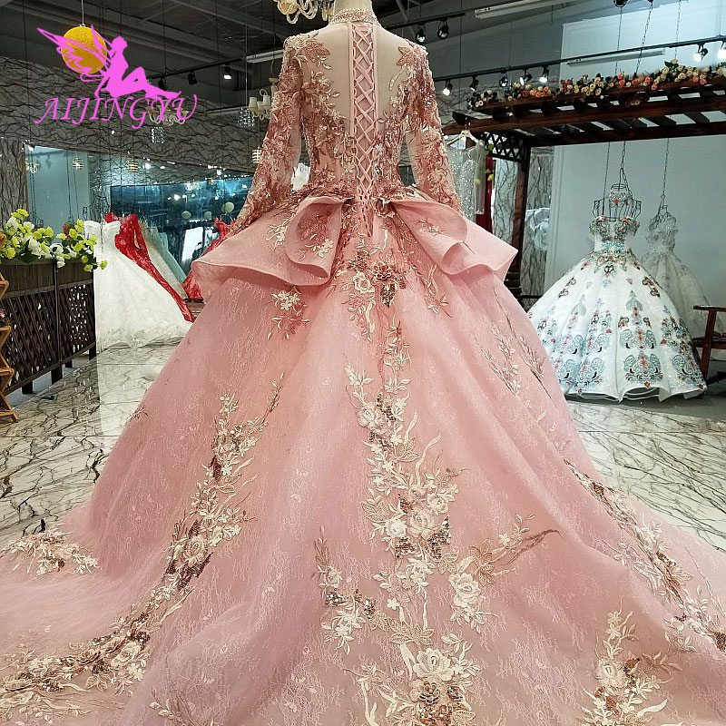 Image 4 - AIJINGYU Ivory Lace Dress Tulle Bridal Gown Long Frocks Store Vintage Korean Modest Gowns Wedding BoutiquesWedding Dresses   -