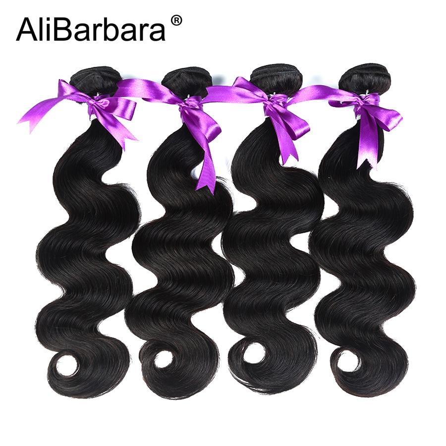 AliBarbara Brasil Tubuh Gelombang Rambut 4 Pcs Bundel Rambut Manusia - Rambut manusia (untuk hitam)
