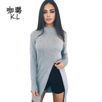 2017 Winter Autumn Women Sweater Pullovers Long Knitted Cashmere Cut Out Sexy Slim Pencil Female Tops