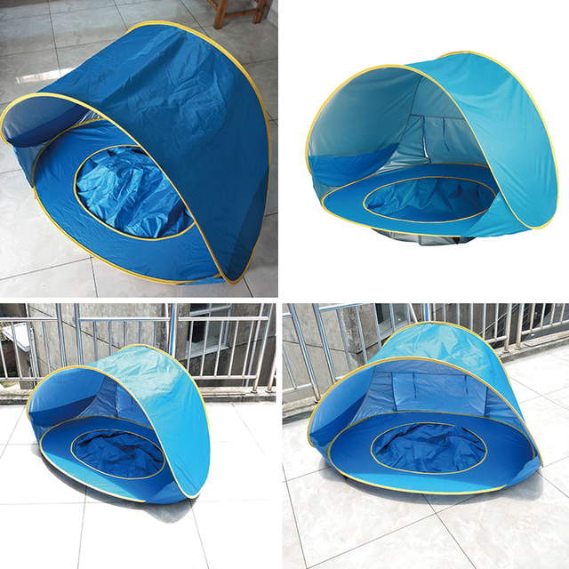 Children's Tent Baby Beach Tent UV-protecting Sunshelter with Pool Waterproof Pop up Awning Tent Kids Outdoor Camping Sunshade 1