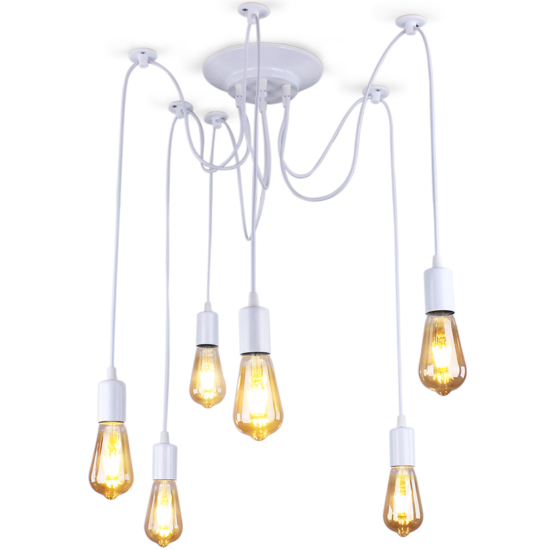 Mordern Nordic Retro Edison Lamp Light Chandelier Vintage Loft Antique Adjustable DIY Art Spider Ceiling Lamp Fixture Light