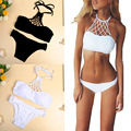 New Women Bikini Set Halter Criss Cruz Push Up Sexy Vintage Swimwear Swimsuit Preto/Branco 2017 Estilo Primavera Verão