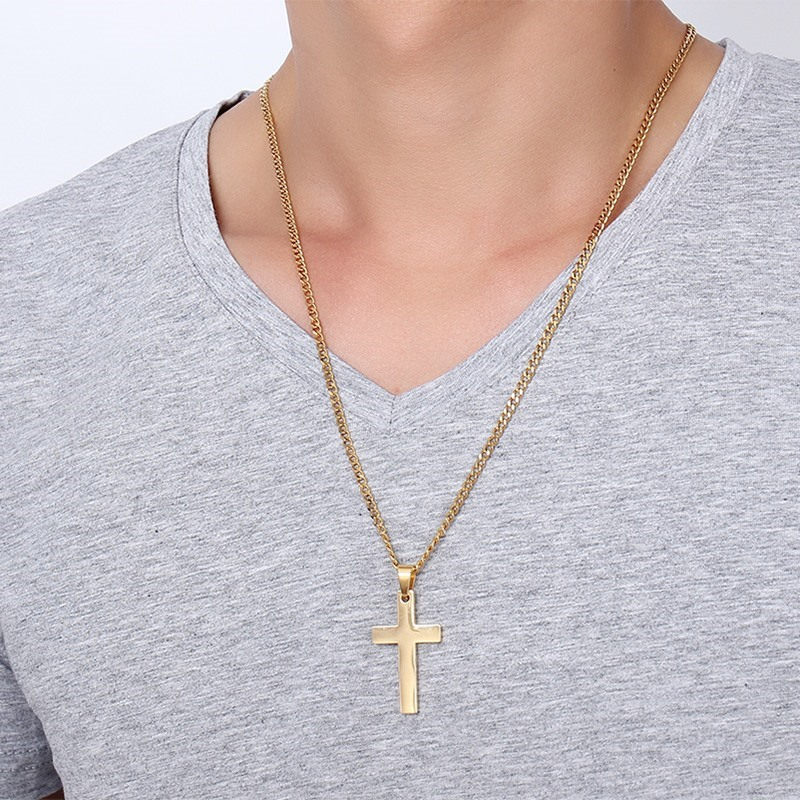 Meaeguet jewelry mens cross necklaces for women men stainless steel meaeguet jewelry mens cross necklaces for women men stainless steel gold color pendant prayer necklaces 24 curb chain in pendant necklaces from jewelry aloadofball Images