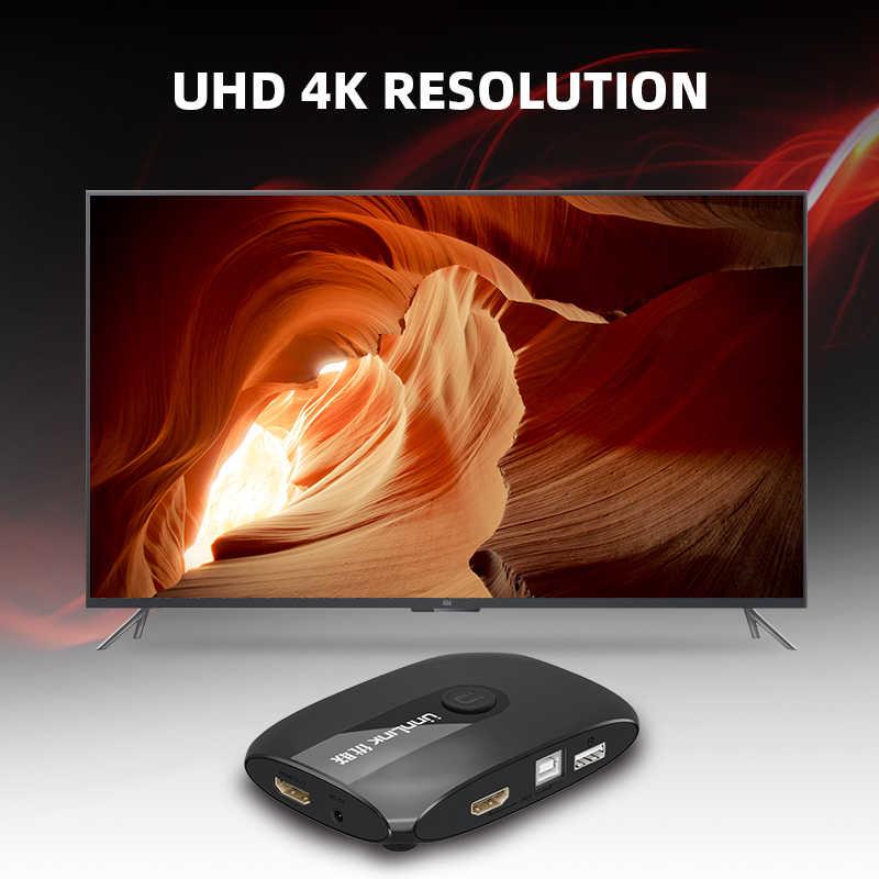 Unnlink 2 Cổng HDMI KVM Switch UHD4K @ 30Hz 1080P @ 60Hz USB2.0 Chia Sẻ Màn Hình Máy In Chuột Bàn Phím cho 2 Máy Tính Laptop PS4