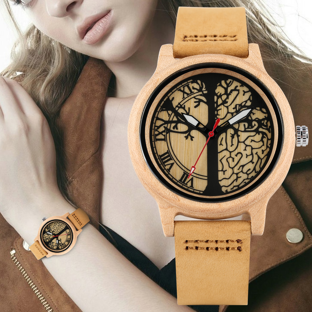 Women's Brown Leather Strap Wristwatch Quartz Wooden Watch Unique Maple Life Tree Patterns Dial Wooden Watch(China)