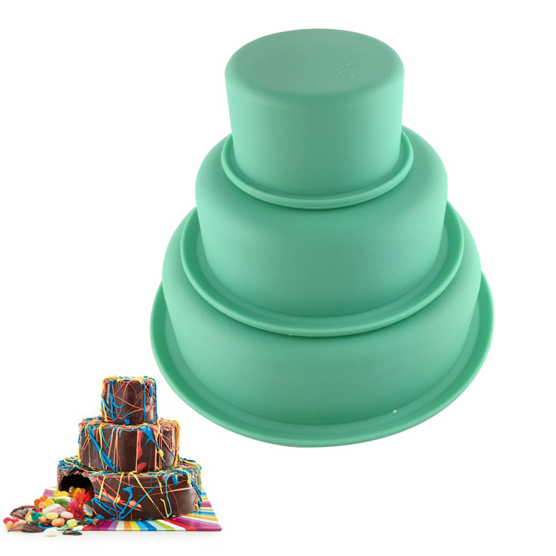 Silicone 3 Layers Birthday Cake Molds Handmade Pastry Moulds Round Shape Bakeware DIY Baking Tools Kitchen Accessories Supplies