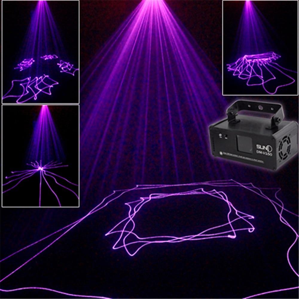 AUCD Mini PRO IR Remote 8 CH DMX 150mW Purple Beam Laser Scanner Lights DJ Party Bar Projector Professional Stage Lighting  V150