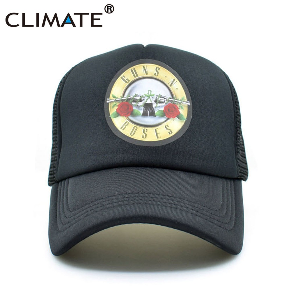 CLIMATE Guns N Roses Cap Hat Men GnR Rock Trucker Caps Cool Rock Band Cap Rock Music Band Baseball Caps Black Hat Men