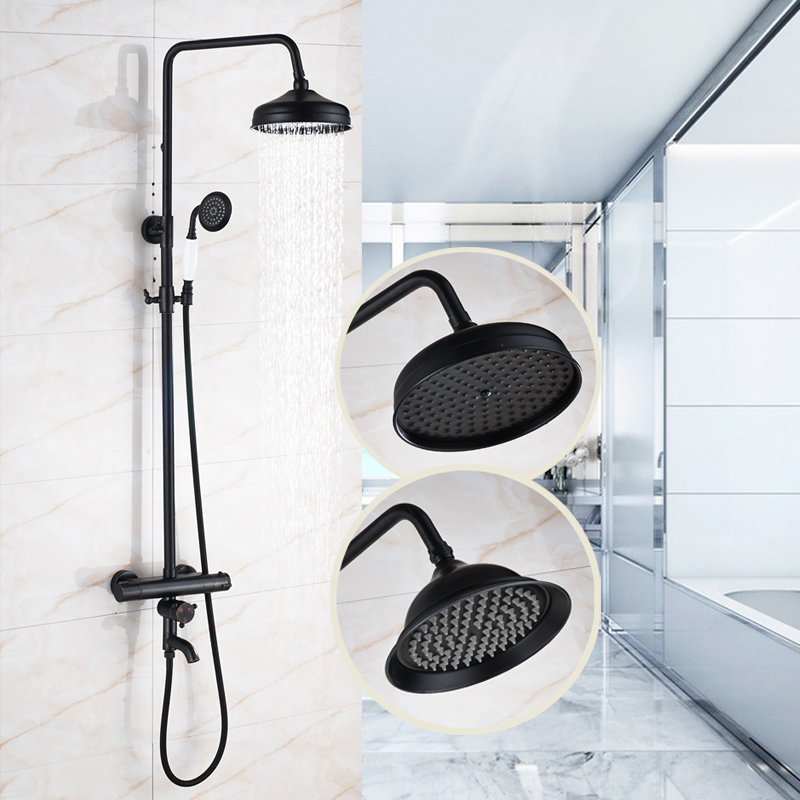 Luxury 8 Shower Head with Hand Shower Thermostatic Shower Faucet Oil Rubbed Bronze china sanitary ware chrome wall mount thermostatic water tap water saver thermostatic shower faucet