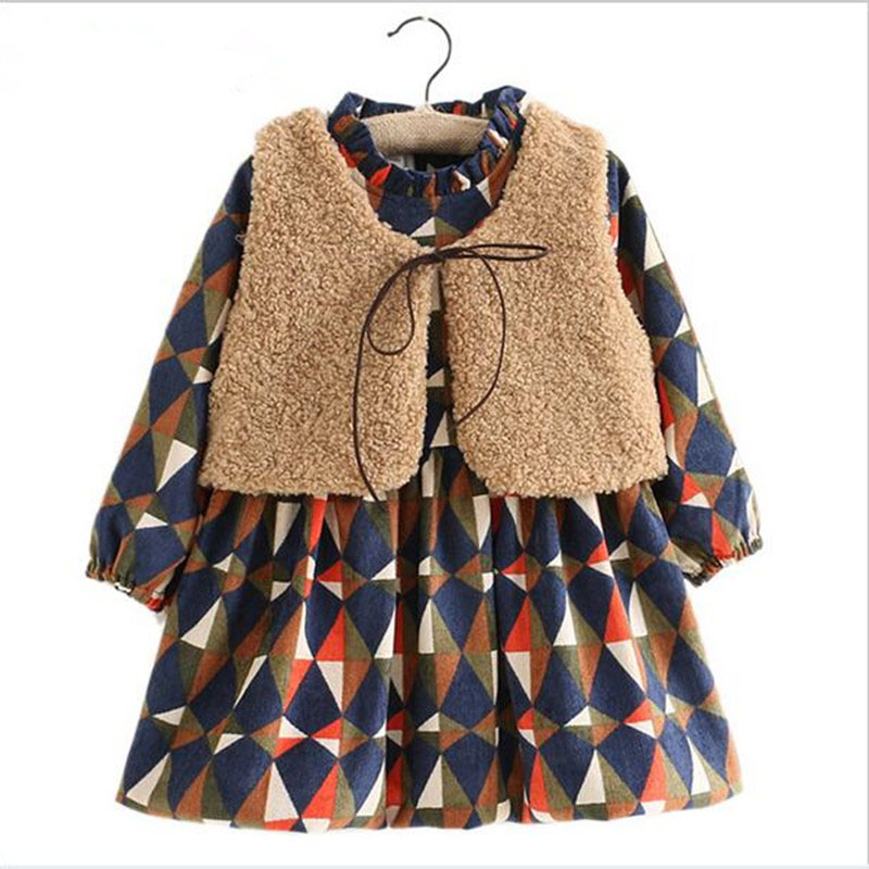 Girls Kids Clothes Winter Diamond Plaid Thick Children Clothing Fashion Lamb's Wool Fur Vest + Girls Dress Clothing Sets Costume