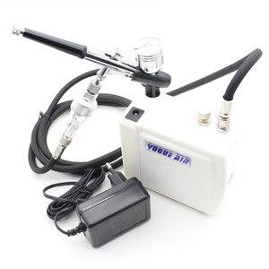 Image 1 - Tác Động Kép Bộ Phun Mini Compressor 12V Air Brush Súng Cho Tranh Nghệ Thuật Trang Điểm Làm Móng Tay Thủ Công Mẫu Bình Bơm Phun Sơn Móng Tay bộ Dụng Cụ