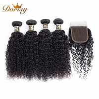 Dorisy Hair Peruvian Kinky Curly Non Remy 100% Human Hair Extension 4 Bundles With Lace Closure Natural Color Hair Weave Bundles