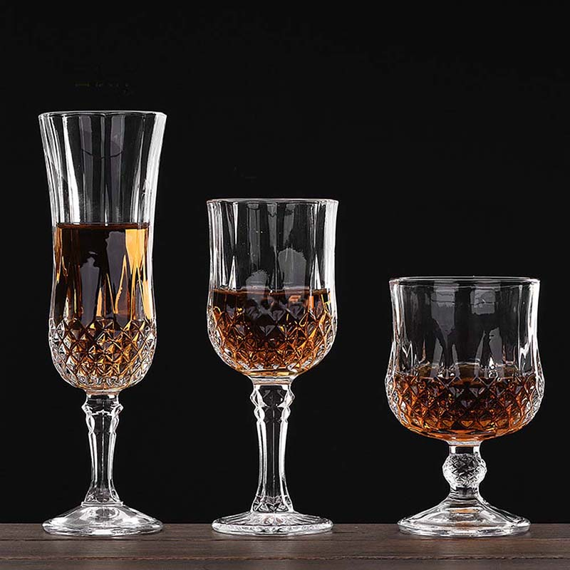 bar crystal wine goblet diamond facets decor glass for red brandy water - Water Goblets