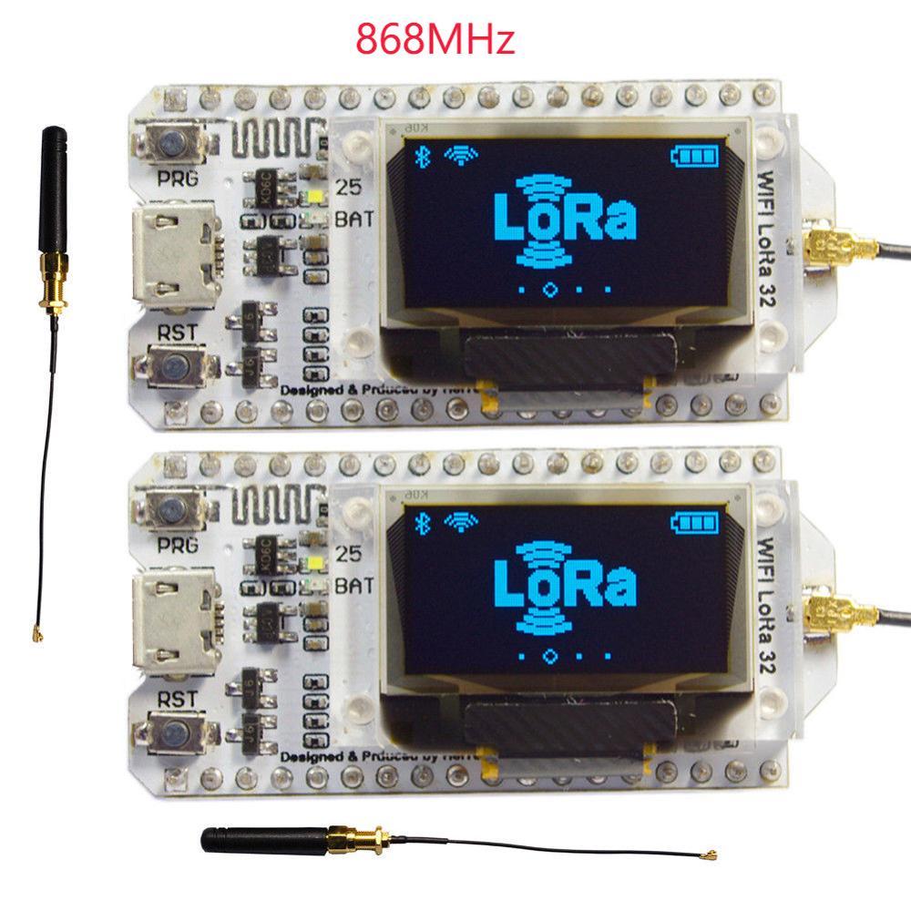 2pcs-868mhz-sx1276-esp32-lora-096-inch-blue-oled-display-bluetooth-wifi-lora-kit-32-module-iot-development-board