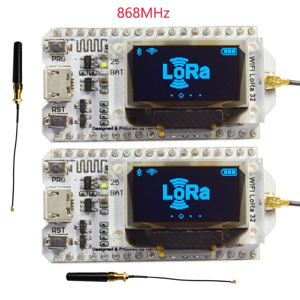 Pcs 868MHz SX1276 2 ESP32 LoRa 0.96 Polegada Azul Display OLED Bluetooth WI-FI Kit 32 Lora Módulo de Desenvolvimento IOT placa