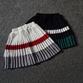 2017 Wholesale fashion hot spring girls cotton pleated spell color skirt