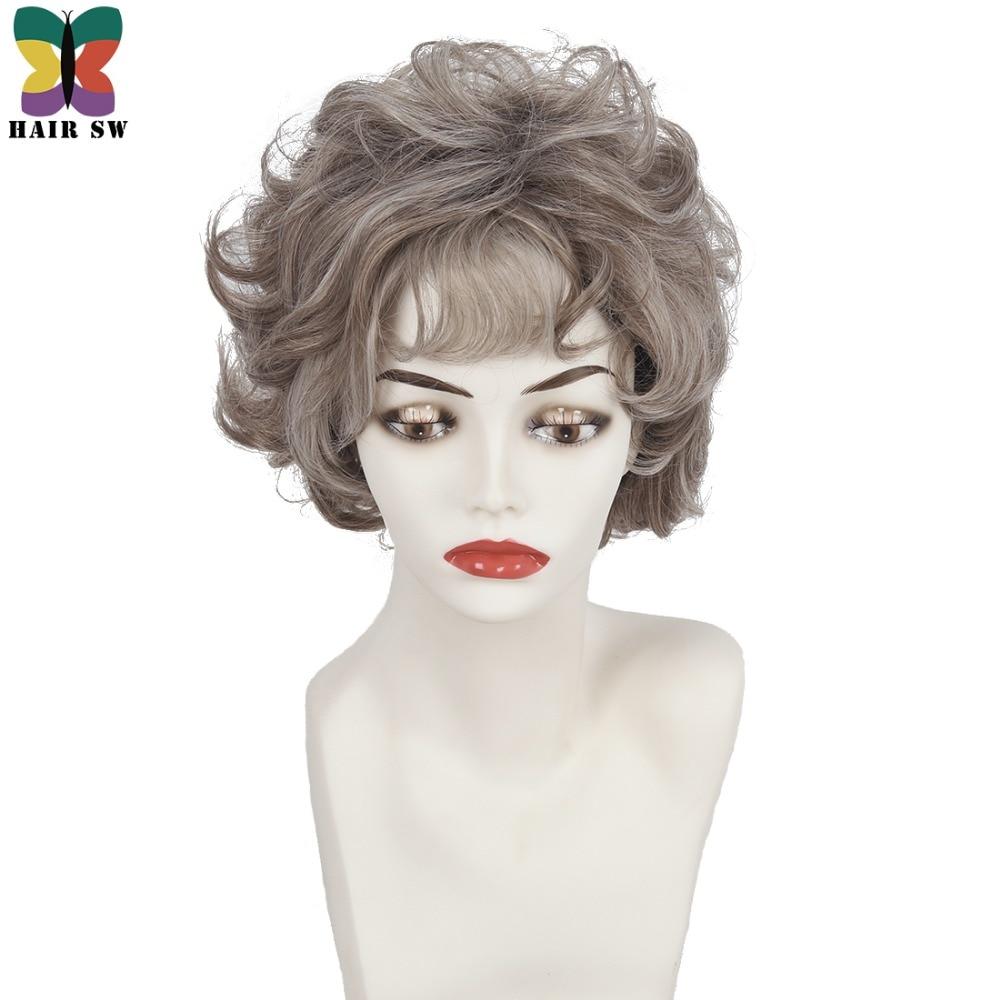 Hair Sw Women S Natural Fluffy Silver Grey Wigs Short