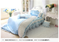 Pleated Lace Yarn Chiffon Bow Princess Piece Set Bedding Pink