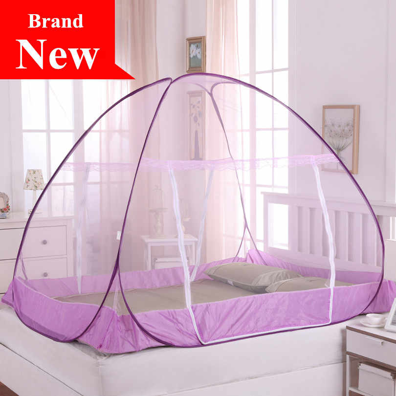 2017 New Arrival Cheap Two Door Mongolian Yurt Mosquito Net for Adults Double Bed, Folding Netting Tent Without Installation