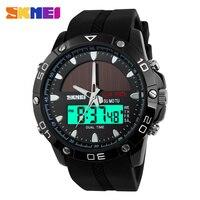 SKMEIผู้ชายพลังงานแสงอาทิตย์ควอตซ์นาฬิกาดิจิตอลนาฬิกาผู้ชายกีฬาR Elojes Relógio MasculinoจอแสดงผลLEDนาฬิกาข้...