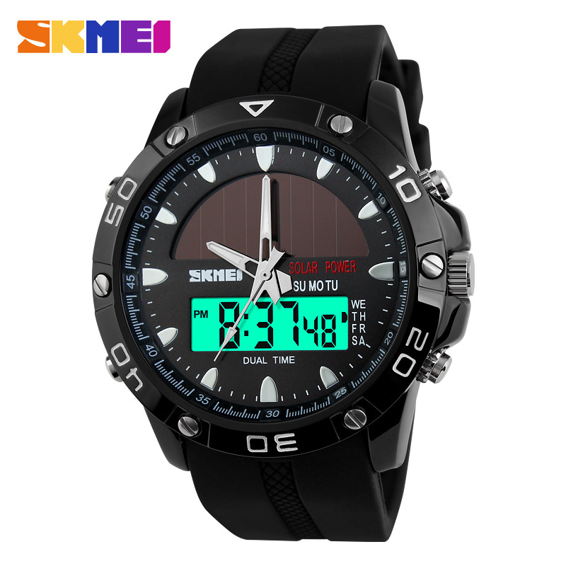 SKMEI Men's Solar Quartz Digital Watch Men Sports Watches Relojes Relogio Masculino LED Display Military Waterproof Wristwatches
