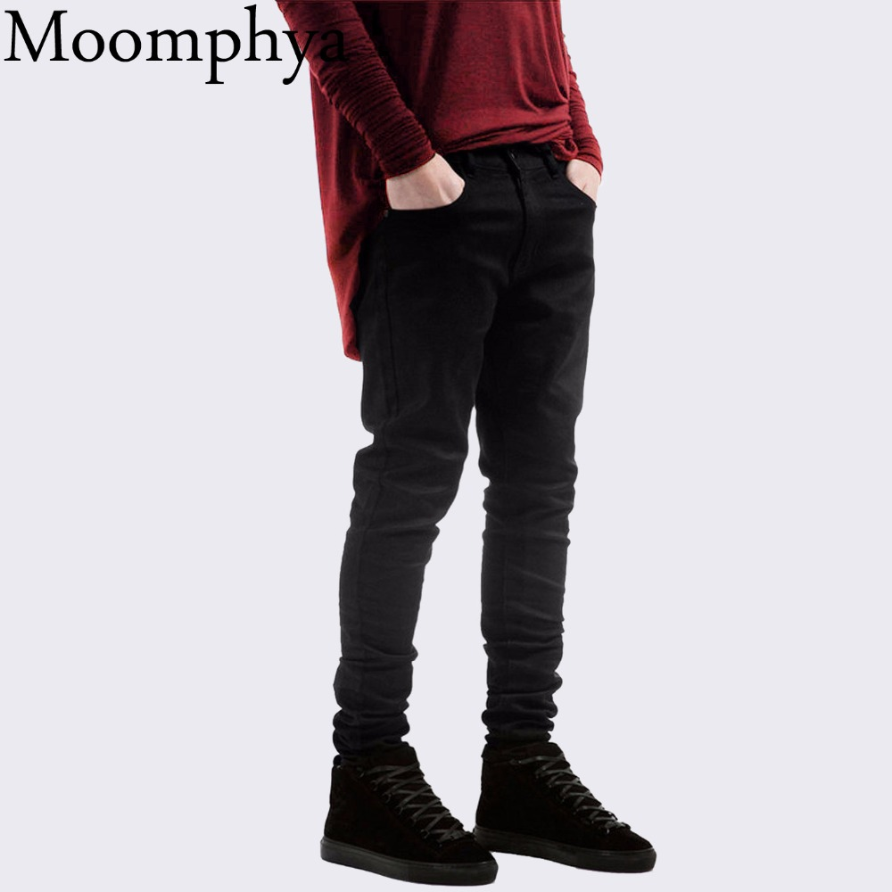 Black men Denim jeans Skinny jeans All black Slim Fit straight jeans men solid color High street biker jeans