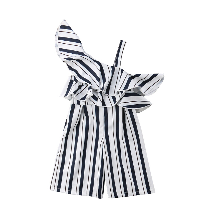 3-10Y Girls Kids Stripe Off Shoulder Romper Jumpsuit Strap Ruffles Loose One Shoulder Summer Rompers Overalls Outfits green fashion off shoulder hollow knee jumpsuit