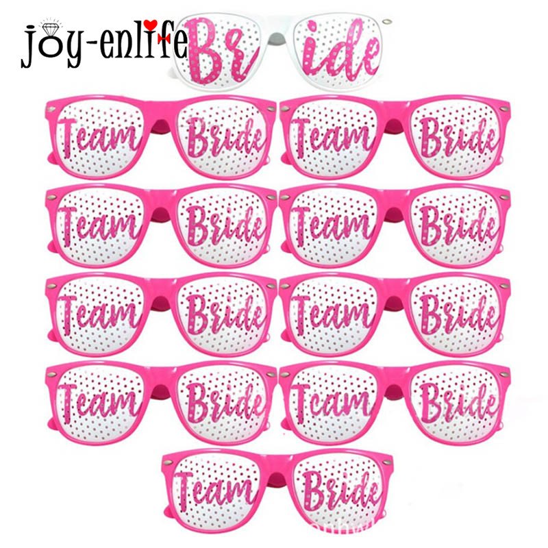 JOY-ENLIFE 1pcs Team Bride Photo Booth Props Photobooth Bride to be Wedding Glasses Mask Her Party Bachelorette Party Decor