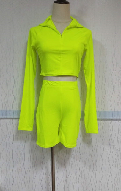 2019 Summer Sporting Neon Two Piece Neon Green Set Outfit Club Clothes 2 Pieces Matching Women Tracksuit