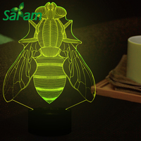 7 Colors Changing Acrylic Bee Led Night Light USB Touch Switch Type 3D Stereoscopic LED Visual Illusion Desk Table Lamp