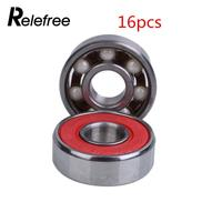 16 Pcs Ceramic Skate Bearings Zirconia Deep Groove Roller Speed Shoes Skateboard Drift Plate Rodamientos Suit