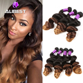 Cheap Ombre Hair Extension 6A Indian Virgin Hair Loose Wave Ombre Three Tone 5pcs/lot Indian Ombre Human Hair Weaves 6-30inches