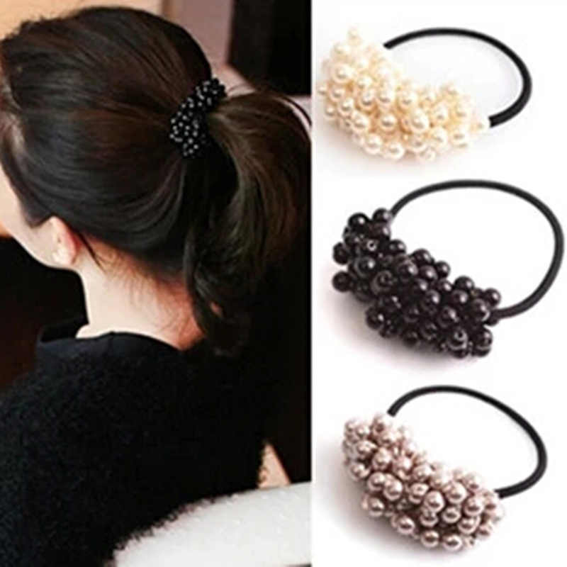 Women Hair Accessories Pearls Beads Hairbands Ponytail Maker Girls Scrunchies Fashion Elastic Hair Bands Rubber Rope Headwear