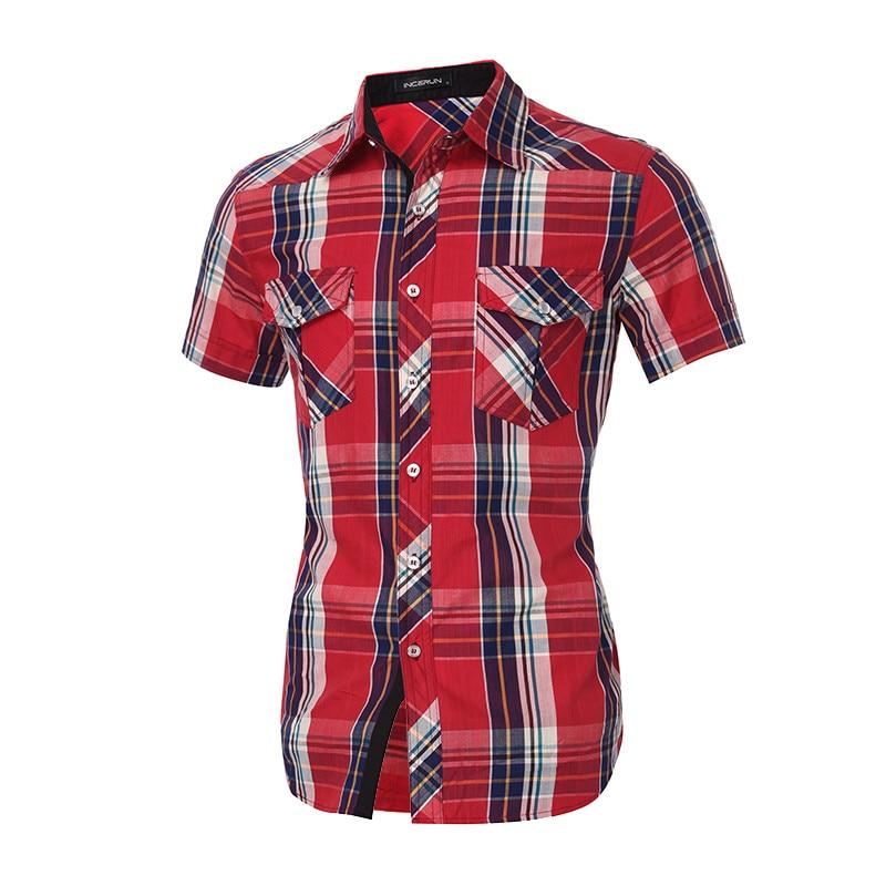 2018 New Arrival Mens Brand Plaid Shirt Summer Fashion Shirts Casual Turn Down Collar Slim Fit Shirts Plus Size S-XL