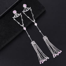 SisCathy 128*20mm Long Tassel  Fringe Earrings For Women Charms CZ Crystal Copper Pendant 2019 Fashion Jewelry Party