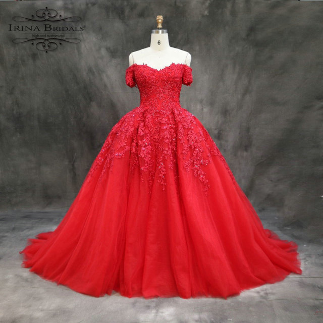 Turkey Luxury Off Shoulder Short Sleeve Lace Appliques Pleat Red Wedding  Dress 2018