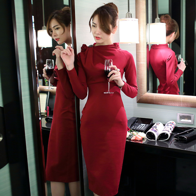 Classy Korean style elegant red/black long sleeve vintage office annual meeting party night ball dinner hip package tight dress
