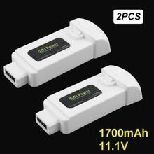 Gifi Poder 2 Pcs 11.1 V 1700 mAh Bateria de Polímero de Lítio para Yuneec 18.87Wh Brisa Voando Zangão Câmera Substituição Extra poder