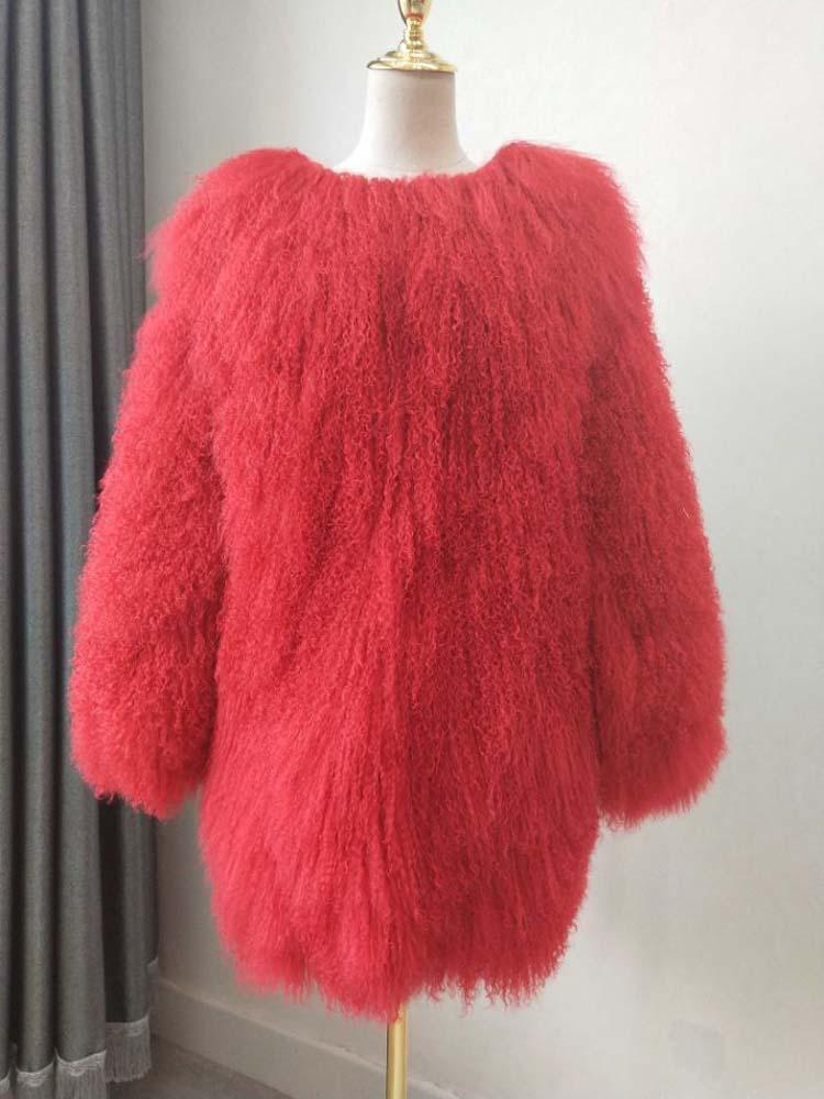 2018 Naturel Longue section manteau de fourrure véritable laine de plage vêtements d'hiver chauds lady fourrure de Mongolie Moutons De Fourrure cardigan pardessus