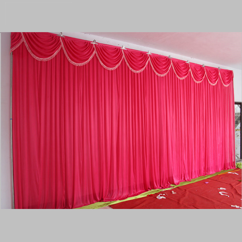 Fashion Hot Pink Wedding Backdrop With Beatiful Swag Wedding Drape