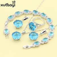New Fashion 925 Silver Jewelry Sets Blue Created Topaz Smooth Necklace Rings Earrings Bracelet For Women
