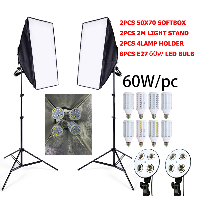 8 LED 60 W Photo Studio SoftBox Cámara Foto 2 Soporte de luz 2 Softbox Kit de iluminación fotográfica cámara y foto accesorios estudio