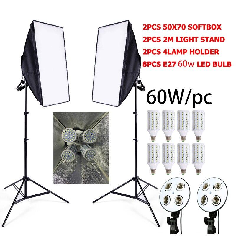 8 LED 60w Photo Studio SoftBox Camera Photo 2 Light Stand 2 Softbox Photographic Lighting Kit Camera & Photo Accessories Studio